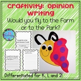 Butterfly Craft Kindergarten First 2nd Grade Opinion Writing for Spring