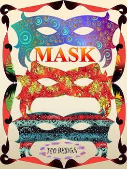 Masks - Crafts - Clipart - 25 different color designs and