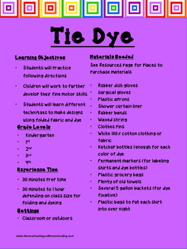 Crafts for Early Elementary Grades Series: Tie Dying