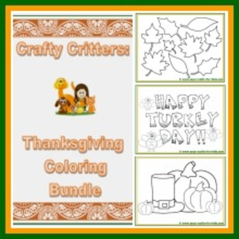 Crafty Critters: Thanksgiving Coloring Bundle