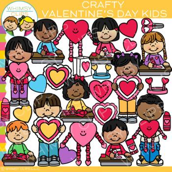 Crafty Valentine's Day Kids Clip Art