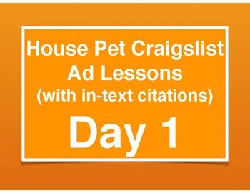 Craigslist Ad (Project-Based Standards-Based Lessons)