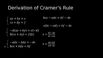 Cramer's Rule - PowerPoint Lesson (11.8)
