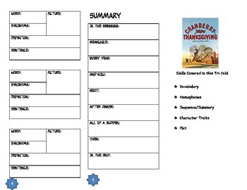 Cranberry Thanksgiving Comprehension Tri-fold