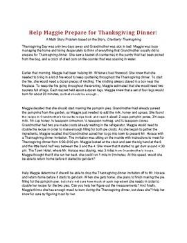Cranberry Thanksgiving  - Math Problem Solving Story