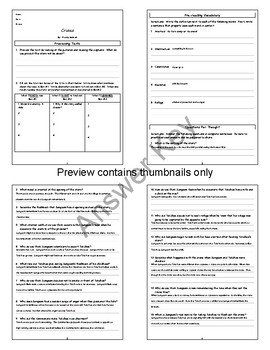 Cranes by Hwang Sunwon Lesson Plan, Questions and Key, Worksheets, PPTs