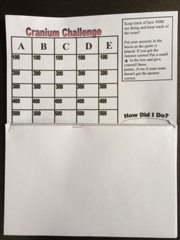 Cranium Challenge- 4th Grade Math - Score board and work sheet