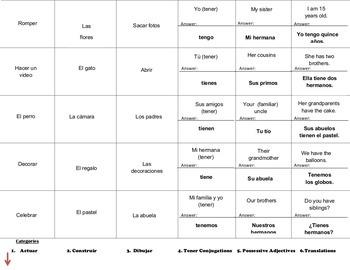Realidades I - Cranium Review Bundle - Preliminary Chapter through 8B
