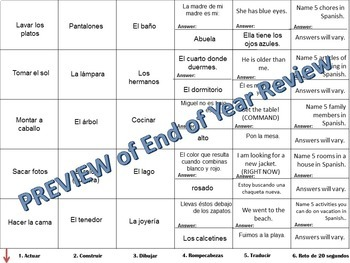 Cranium Review - Realidades I, Chapter 8A
