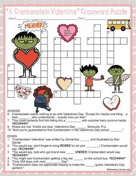 Crankenstein Valentine Activities Berger Crossword Puzzle and Word Searches