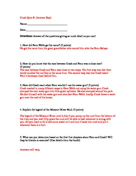 Crash By: Jerry Spinelli Quiz for Chapters 1-5
