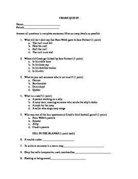 Crash By: Jerry Spinelli Quiz for Chapters 21-25