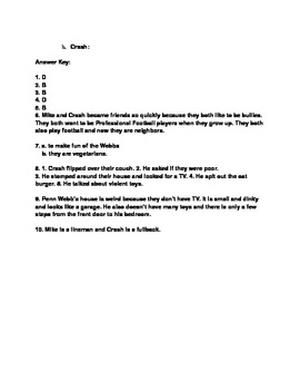 Crash By: Jerry Spinelli Quiz for Chapters 6-10