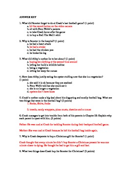 Crash By Jerry Spinelli, Quiz for chapters 26-34