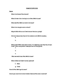 Crash By Jerry Spinelli, STUDY GUIDE