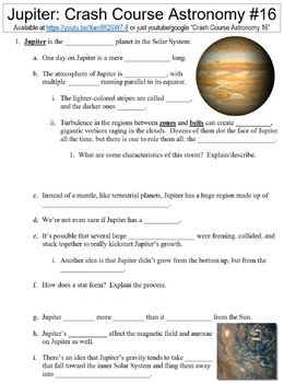 Crash Course Astronomy #16 (Jupiter) worksheet