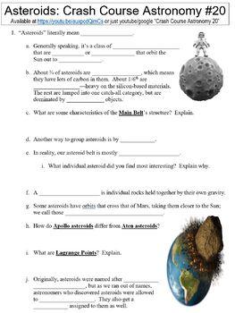 Crash Course Astronomy #20 (Asteroids) worksheet