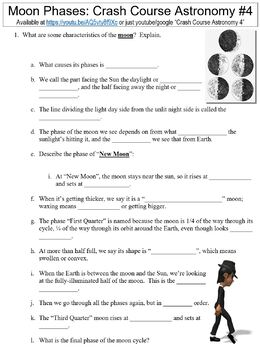 Crash Course Astronomy #4 (Moon Phases) worksheet