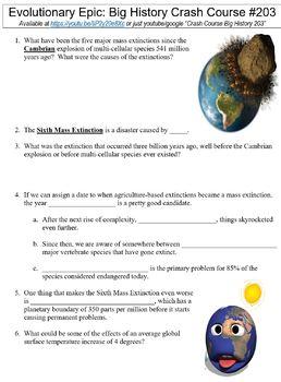 Crash Course Big History #203 (Evolutionary Epic) worksheet