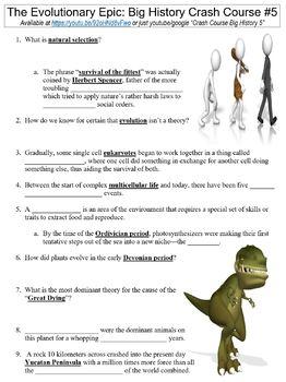 Crash Course Big History #5 (The Evolutionary Epic) worksheet