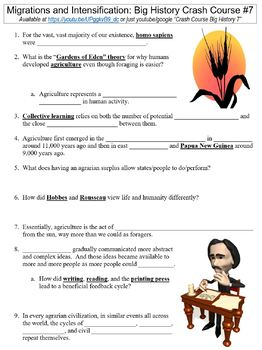 Crash Course Big History #7 (Migrations and Intensification) worksheet