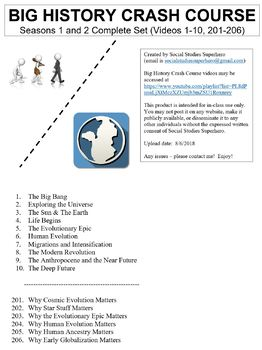 Crash Course Big History Both Seasons Worksheets Complete Set (Full Bundle)