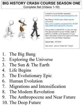 Crash Course Big History Part 1 Worksheets Complete Set (Full Bundle 1-10)