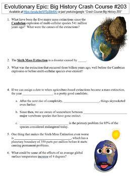 Crash Course Big History Part 2 Worksheets Complete Set (Full Bundle 201-206)