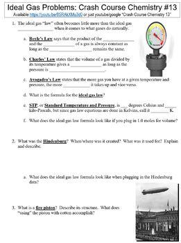 Crash Course Chemistry #13 (Ideal Gas Problems) worksheet