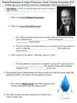 Crash Course Chemistry #15 (Partial Pressures & Vapor Pressure) worksheet