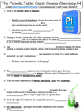 Crash Course Chemistry #4 (The Periodic Table) worksheet