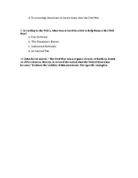 Crash Course Civil War Worksheet