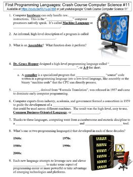 Crash Course Computer Science #11 (First Programming Languages) worksheet