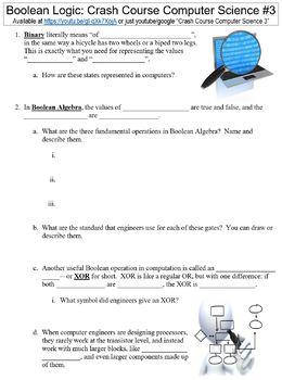 Crash Course Computer Science #3 (Boolean Logic) worksheet