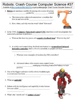 Crash Course Computer Science #37 (Robots) worksheet