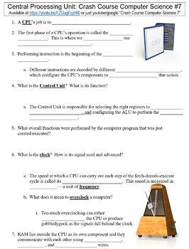 Crash Course Computer Science #7 (Central Processing Unit) worksheet