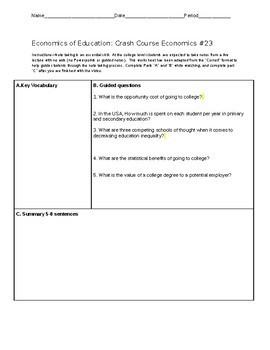 Crash Course Cornell Worksheet Economics of Education: Economics #23