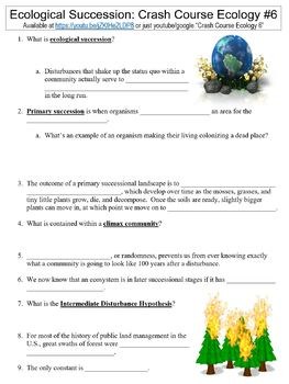 Crash Course Ecology #6 (Ecological Succession) worksheet by Danis ...