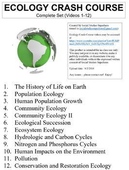 Crash Course Ecology Worksheets Complete Set (Full Bundle Collection)