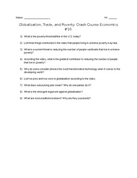 Crash Course Economics #16: Globalization, Trade, and Poverty Viewing Guide
