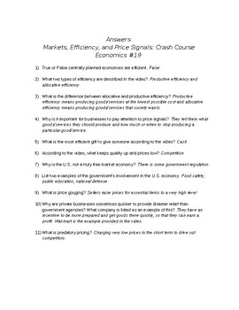 Crash Course Economics #19: Markets, Efficiency, and Price Signals Viewing Guide