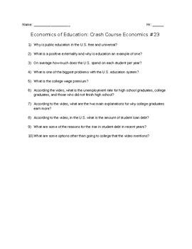 Crash Course Economics #23: Economics of Education Viewing Guide