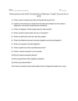 Crash Course Economics #25: Monopolies and Anti-Competitive Markets Viewing G