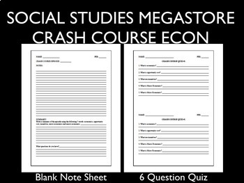 Crash Course Economics Worksheets Ep. 21-25