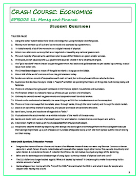 Crash Course Economics Worksheets Episodes 11 15 By Elise Parker Tpt