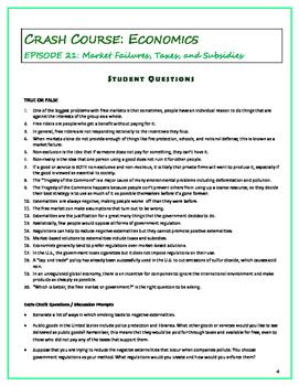 Crash Course Economics Worksheets Episodes 21 25 By Elise Parker Tpt