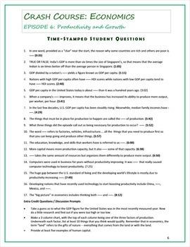 Crash Course Economics Worksheets Episodes 6 10 By Elise Parker Tpt