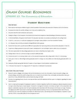 Crash Course Economics Worksheets -- TWENTY EPISODE BUNDLE -- Episodes 16-35