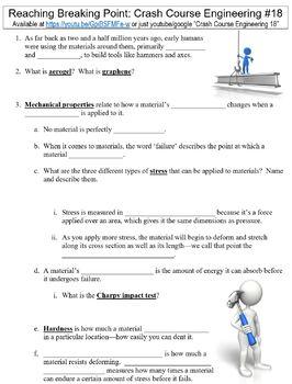 Crash Course Engineering #18 (Reaching Breaking Point) worksheet