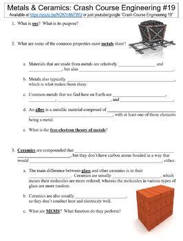 Crash Course Engineering #19 (Metals & Ceramics) worksheet